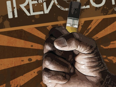 REVOLUTION magazine ad brown hand sunburst