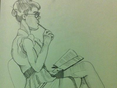 Dr. Sketchys naughty librarian pencil sketch