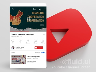 youtube-channel-screen concept design flat design ui illustration infographic red app youtube