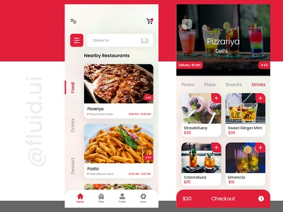 Food Delivery App application design checkout payment dribble red ux ui drinks pizza product mobile app mobile food delivery food design creative clean application app