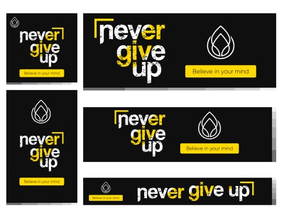 Never Give Up Motivational Google Ad dark theme dribbble motivation design web logo flat minimal typography branding google ad banner