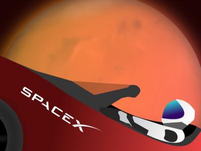 Starman flies by Mars