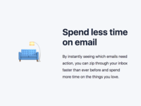 "KanbanMail landing page section – ""Spend less time on email"""