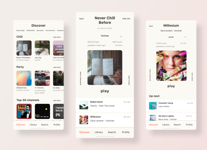 Discover Playlists   Music App Redesign player design applications application ui sound flat playlist mad5 musicapp music challenge redesign soundcloud ui ux app