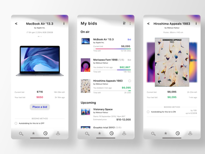 Auction App Redesign, inspired by Mitsuo Katsui app concept concept uidesign sell sell your art ecommerce design ecommerce app ecommerce apple macbook auctions auction challenge applications application ui mad5 uxui ux design ux  ui bidding