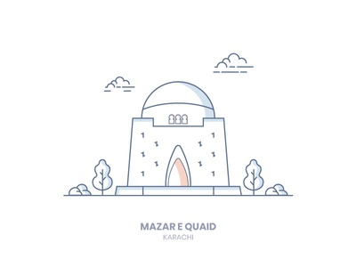 Mazar e Quaid mazar e quaid line-art karach illustration icon building