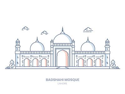 Badshahi Mosque badshahi mosque lahore line-art illustration building