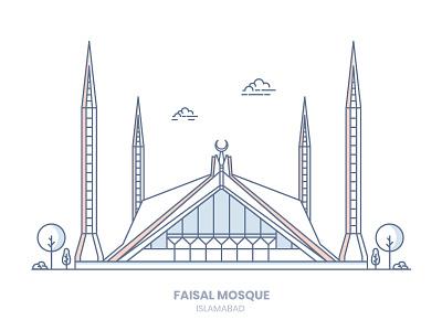 Faisal Mosque pakistan islamabad faisal mosque site line-art illustration icon building