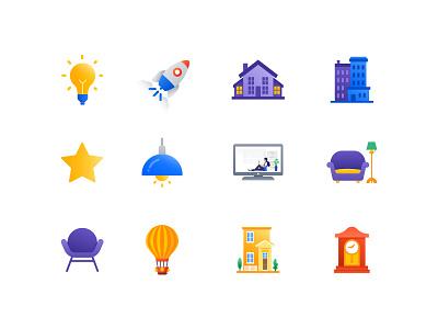 Mevris - Icons for Scene App icon chair office bulb iot home building illustration scene mevris icons set