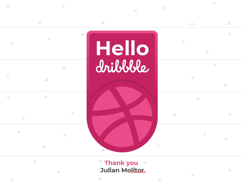 Hello Worl... Dribbble design badge icon debut