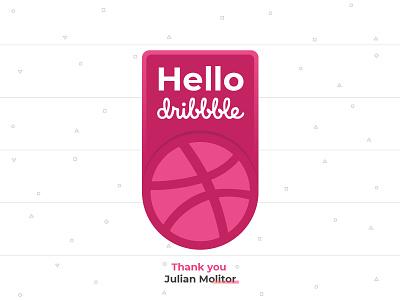 Hello Worl... Dribbble design badge icon debut