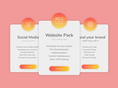 Product Cards icons gradient color gradient card product card design website