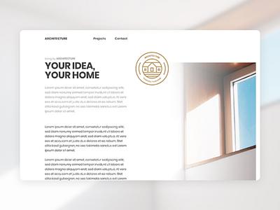 Architecture Website Concept Content Page sans serif landing page simple design clean badge website minimal architecture