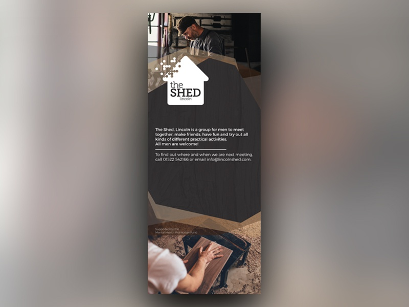 The Shed Pull up Banner charities layout promotional church charity photography print design graphic design pull up banner