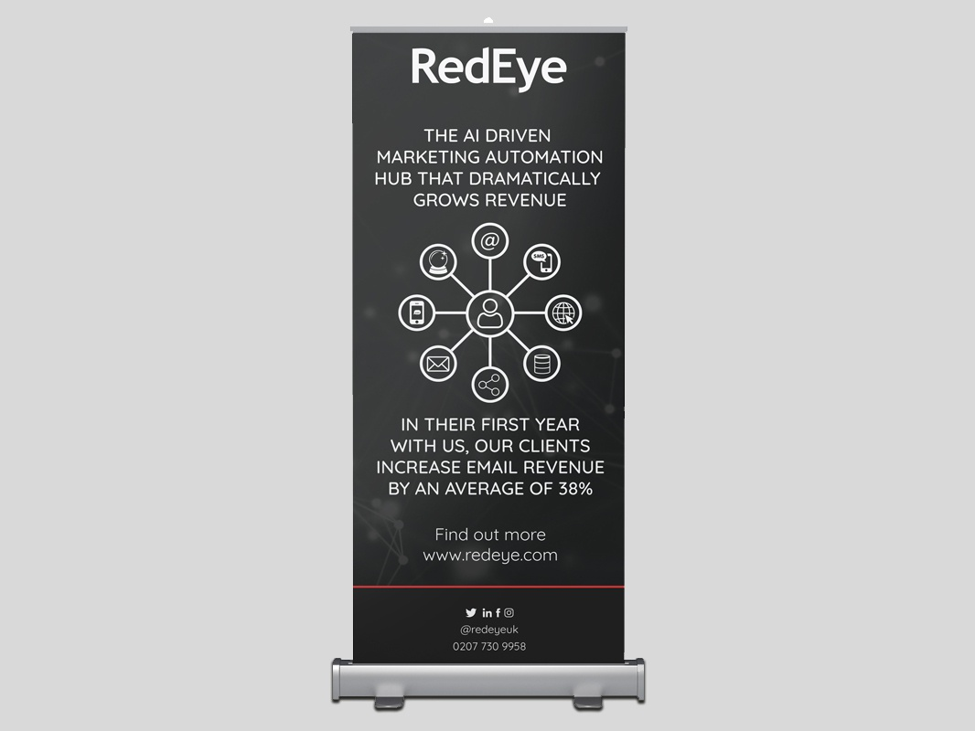RedEye Roll-up exhibit design stand rollup roller marketing marketing collateral marketing campaign event vector illustration typography artwork banners banner design clean black and white minimal design branding graphic design