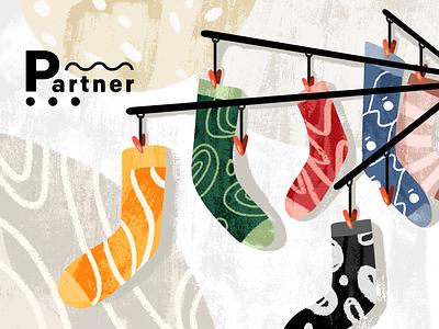 Where is my partner? socks illustration texture sock