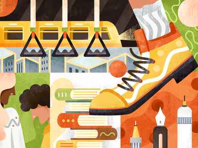 Designer's working day (with free bursh~) brush texture pen subway shoes drawing illustration