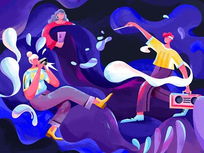 fantastic dance music people curve night club texture illustration