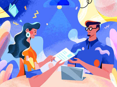 interview site man womans blue texture illustration interview