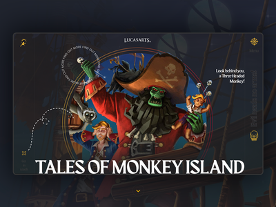 Monkey Island zombie pirates pirate lucasarts pc console videogame game landing page minimal digital design webdesign design web ux ui website guybrush lechuck monkey island