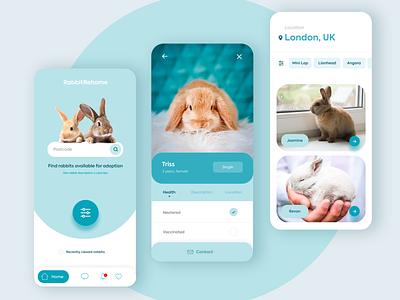 Adopt a rabbit uidesign mobile ui responsive mobile app home rescue pet adopt rabbit website design landing page minimal digital design webdesign design web ux ui website