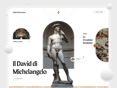 Italian Reinassance antiquity modern minimal clean gold double exposure webdesign design web ux ui website gallery album travel tourism italy reinassance art gradient