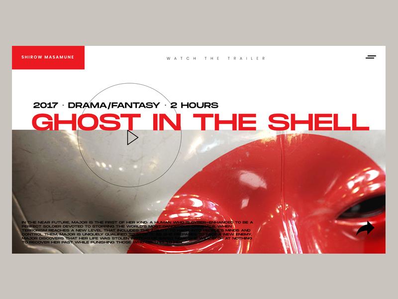 Ghost in the Shell desktop film ghost in the shell branding art direction website design digital design landing page design webdesign web minimal website ux ui