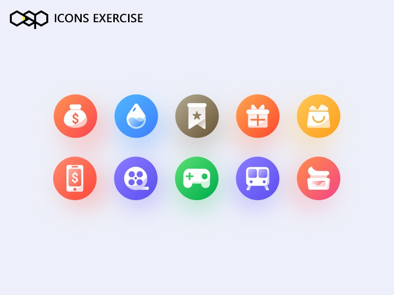 Icons Exercise shop ui color icon app