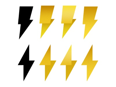 Bows to Bolts lightning power bolt zap yellow electric metering utility icon logo folded origami