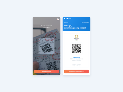 Paris 2024 App — Flashcode eticket ticket camera code flashcode ux ui sports product design paris olympic games mobile interface icon event design concept competition app android