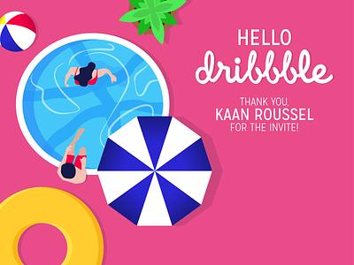Hello Dribbble! debutshot holidays graphic  design illustration flat design summer pool vector art hello dribbble