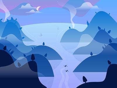 Magic Land illustrator design magic night lake vector art landscape illustration graphic  design flat design