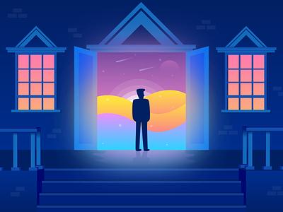 The path to dream light sky shape world night man architecture magic dream vector vector art illustration illustrator graphic  design design