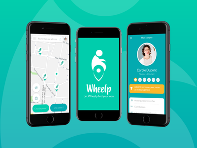 Web app   Wheelp disabled person mock up profile maps web app flat design branding ux logo ui design graphic  design