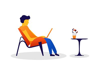 Sitting man minimalist computer work seated plant table chair furniture character man illustration vector illustrator flat design vector art design graphic  design