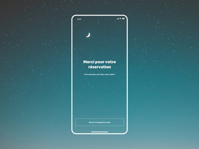 Booking confirmation screen buying funnel purchase stars sky thanks confirmation booking booking system ios app travel photograhy ui graphic  design design