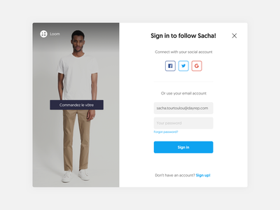 Sign in story web once popup input form saas app modal sign in window ux design ui