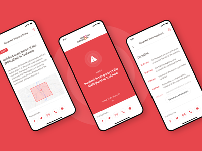 Alert app timeline alert ios product design toulouse city prevention warning population communication crisis disaster app typography ux ui design