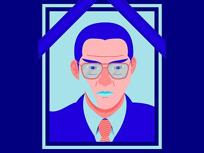 Tetsuya Sakai ribbon colour brush illustration vector funeral portrait blue gangster thug