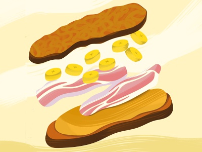 The Elvis peanut butter vector brush illustration food sandwich bacon banana peanut elvis
