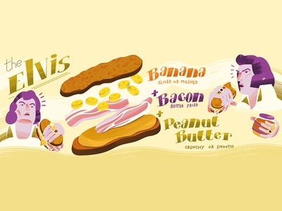 Elvis banana peanut butter photoshop illustrator brush vector illustration sandwich food elvis