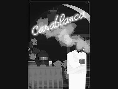 Casablanca illustrator photoshop cafe type smoke black and white poster movie casablanca illustration