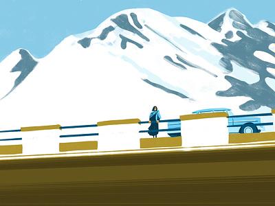 mountain trip editorial adobe wacom snow car landscape design photoshop brush illustration