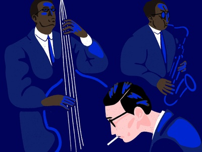 Jazz jazzy light drawing photoshop blue illustration music trio jazz