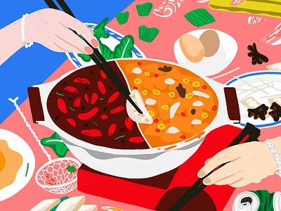 Gong xi ca fai! editorial digital photoshop illustrated food hot pot food illustration illustration cny