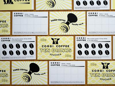 Corgi Coffee Loyalty Cards & Vouchers card design corgi print design typography illustration branding cafe branding design cafe coffee