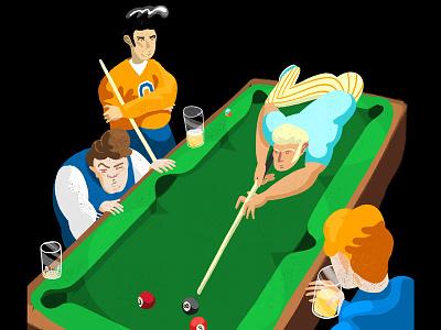 Trick Shot editorial sketch trick shot sports illustrator photoshop light billiard illustration pool table