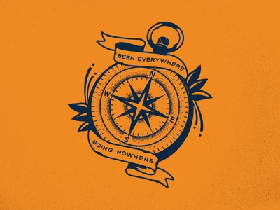 Going Nowhere. unionduesdesignco dustin chessin vintage apparel logo badge stipple compass