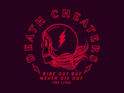 Death Cheaters lightning bolts bolts motorcycle skull vintage lettering tshirt apparel design apparel