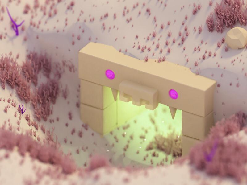 Dungeon in desert mystery desert dungeon isometric blender 3d